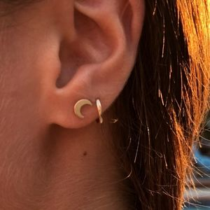 14k Gold Filled Tiny Moon Stud Earrings